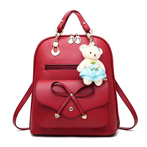 JIAQING Frauen Kleiner Rucksack Mädchen Damen Schulter Handtasche Für Schule PU Leder Rucksack Taschen Mini Reiserucksack (Schwarz),Red-onesize