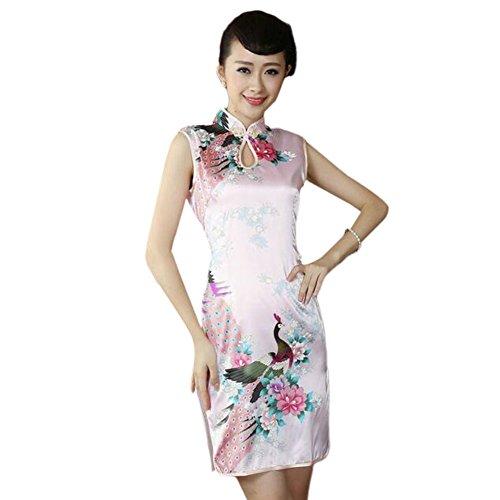 Haodasi Chinesisch Traditionell Frauen Ärmellos Nachahmung Seide Qipao Kleid Pfau Blumen gedruckt Kurz Cheongsam 02#
