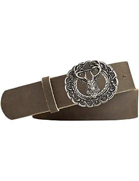 Hirsch-Motiv Trachten-Leder-Gürtel mit Druckknopfriemen für Wechselschliessen Vollrindleder silber antik Farbe…