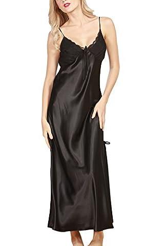 Dolamen Women's Nighties Satin, Ladies Soft Silky Pyjamas Lace Nightwear, Luxury & Sexy Lingerie Spaghetti Strap Babydoll Chemise Long Nightdress, Size 12;14,16,18 etc. (Large, Black)