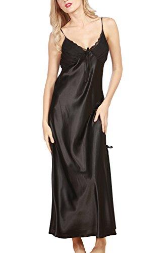 Dolamen camicia da notte donna, morbida pigiama pigiami in raso, luxury & sexy della biancheria della cinghia di spaghetti babydoll pizzo chemise lunga camicia da notte (x-large, nero)