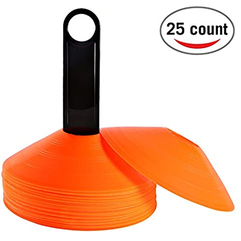 Reehut (Set of 25) Agility Disc Cone with FREE USER E-BOOK & Plastic Holder - Perfect For Soccer, Football & Any Ball Game To Mark - Disc Mini Training Cones - Field Markers - orange
