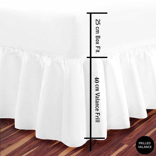 Luxus-Spannbettlacken, extra tief, mit Rüschen, 14 verschiedeneFarben, weiß, King Size
