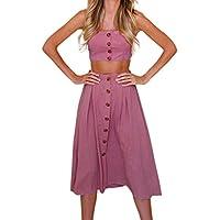 ❤️ Conjunto de Falda para Mujer, Dos piezas Conjunto de falda para arriba con botón Bowknot Holiday Beach ABsolute