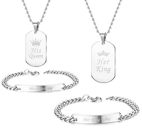 Yadoca 4 Stück Paar Armband Halskette Set für Männer Frauen Edelstahl Eingraviert His Queen Her King Hundemarke Anhänger Matching Halskette Armband