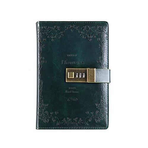 saibang PU Leder Tagebuch Schreiben Notebook, Fashion Tägliche Notizblock mit Zahlenschloss, Kartenfächer, Stifthalter, B6 Größe Passwort Tagebuch für Männer und Frauen dunkelgrün