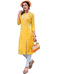 Zombom Women's Yellow Pure Cotton A-line Plain Kurti