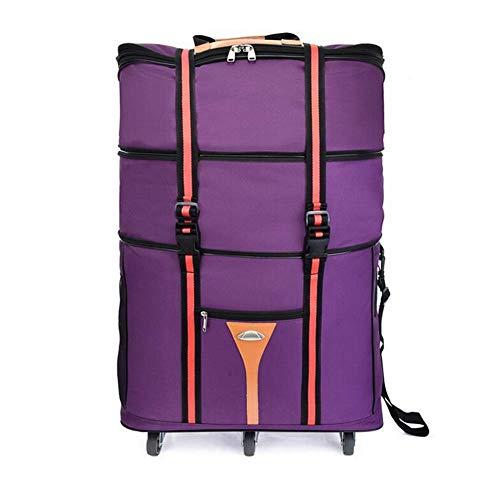ZXY 3 Stockwerke hoch Reisetasche,Wasserdicht Erweiterbar Rollenreisetasche 60L,Lila