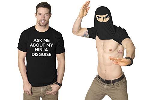 Crazy Dog Tshirts - Mens Ask Me About My Ninja Disguise Flip Tshirt Funny Karate Costume Samurai Tee (Black) - XL - Herren - - Funny Guy Kostüm
