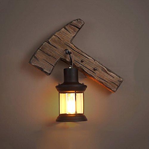 MXD Kreative Ländlichen Stil Axt Form Wandleuchte Retro Massivholz Wandleuchte Mode Persönlichkeit Bar Lampe Cafe Lampe Antike Beleuchtung