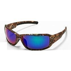 Gafas de sol de camuflaje de VertX, tonos marrones, naranja, blanco, para pesca, caza al aire libre Azul Brown Forrest Camo - Blue Lens