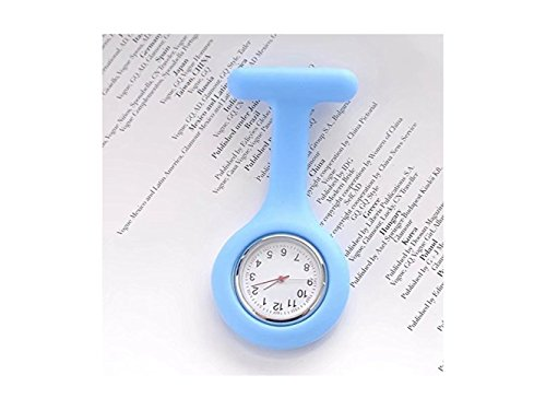 HOUHOUNNPO Fashionable Watch Silicone Nurses Brooch Medical Staff Watch Fob Watch (Sky-Blue)