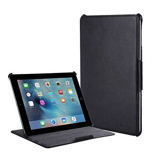 4 Covers Echt Ipad Leder (EasyAcc® PU Leder Tasche Smart Cover für Apple iPad 4 /the New iPad 3 Case mit Multi Ständer Auto Sleep Wake up Funktion (PU Leder, Schwarz))