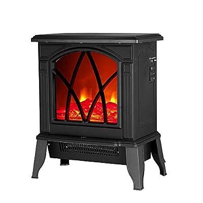 Electric Fireplace Fire, PALDIN 1850W Electric Wood Burner Log Burner Flame Effect Fireplace Stove Heater Adjustable Thermostat & Freestanding Black