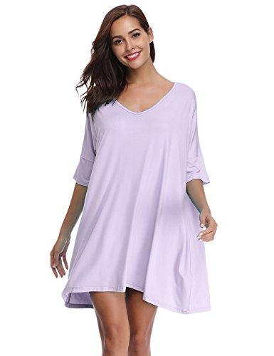 Aibrou Damen Nachthemd Nachtwäsche Negligee Nachtkleid Kurz Modal Umstandskleid Stillnachthemd Sleepshirt Violett L
