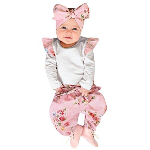 Abbigliamento neonato inverno autunno tute bimbo 6-9 12-18 mesi bambino neonato solid ragazze tuta romper + pantaloni floreali fascia abiti set