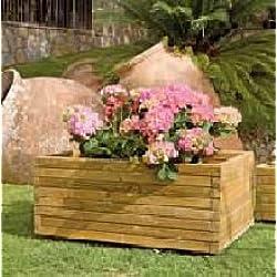 Intermas M100356 - Jardinera madera rectangular 80 x 50 x 40 cm