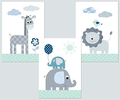 Kinderzimmer Deko - Poster Set 3x DIN A4 – Babyzimmer Deko Bilder Kinder Baby Mädchen Junge (mint 2)