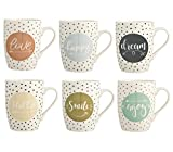 H&H Enjoy Set 6 Tazze Mug, Porcellana, Multicolore, 350 ml