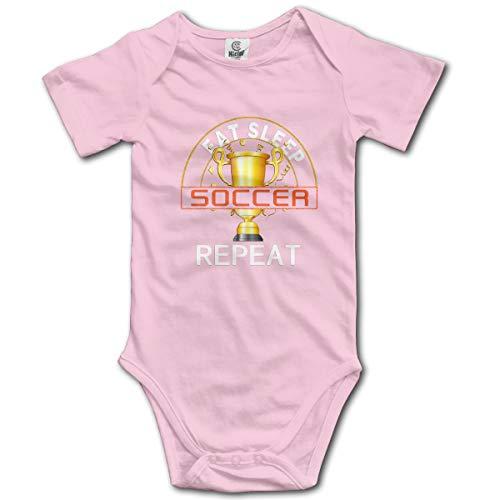 Abigails Home Eat Sleep Soccer-4 Neugeborene Mädchen Babyspielanzug Kurzarm Säuglingskleinkindoverall(0-3M,Pink) -