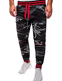 BaZhaHei Herren Hosen Leggings Fitnesshose Mode Männer Outdoor Packwork  Camouflage Schwarz Splicing Kordelzug Hosen Trainingshose Jogger 6606a8828d