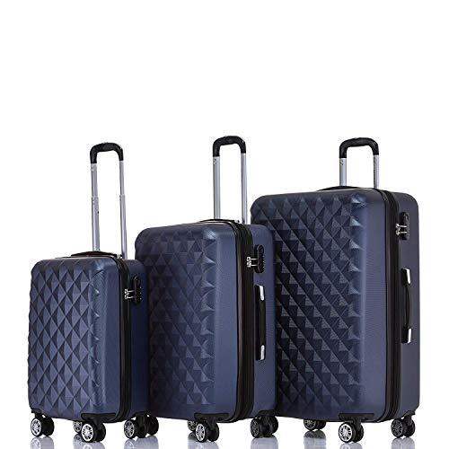 BEIBYE Zwillingsrollen 2066 Hartschale Trolley Koffer Reisekoffer Gepäck M-L-XL-Set (Dunkelblau, Set)