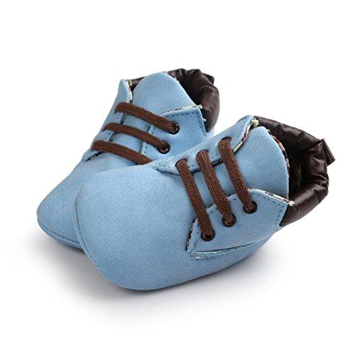 OverDose Unisex-Baby weiche warme Sohle Leder / Baumwolle Schuhe Infant Jungen-Mädchen-Kleinkind Schuhe 0-6 Monate 6-12 Monate 12-18 Monate A-Blau-Leder