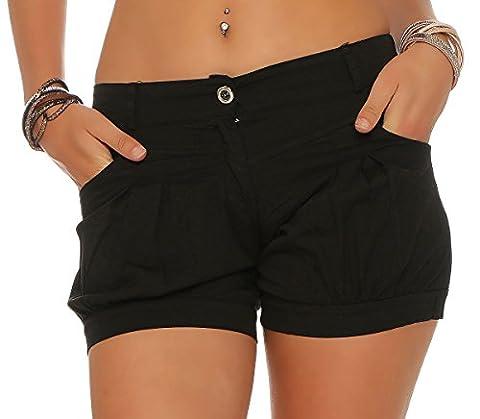 malito Short in Unifarben Sommerhose kurze Hose Hotpants 6088 Damen schwarz XL