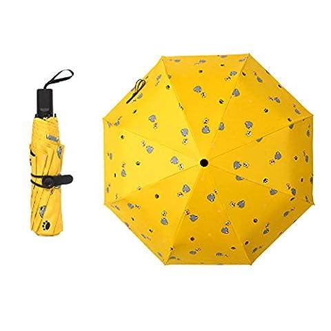 Travel Triple Foldable Umbrella Winddicht Leicht mit Anti-UV / Slip Griff, Katze, Gelb