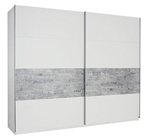 Rauch A0336.48B8 Schwebetürenschrank Sumatra-Extra / 2-türig/B 225 H 223 T 69 cm/Korpus: Weiss, Fronten/Absetzungen: Vintage-Optik-Grau