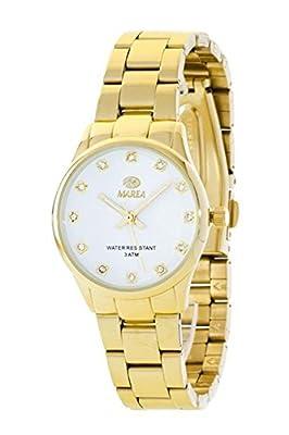 Ref. B41154/3 Reloj Marea Señora, caja y brazalete de acero dorado, sumergible 30 metros, garantía 2 años.