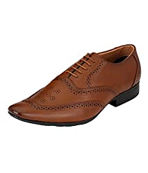 Real Blue Mens Brown Designer Faux Leather Lace-Up Formal Shoes Size:- 8