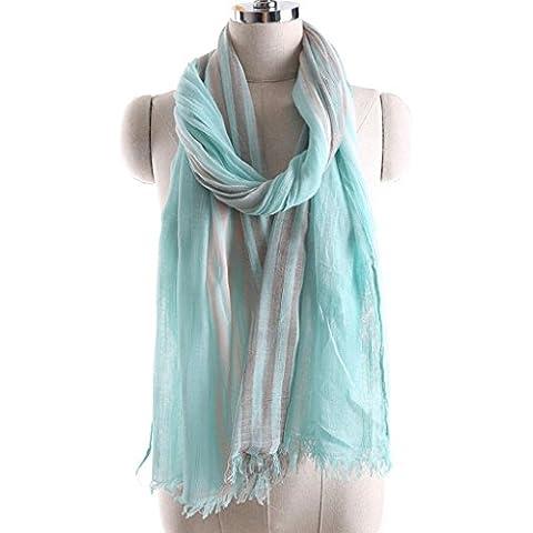 XY-Primavera y otoño las señoras rayadas bordes lino chal bufanda , 135-175cm