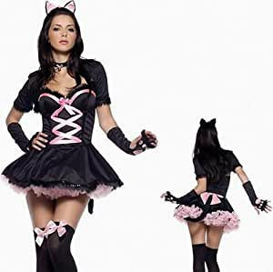 Cosplay Déguisement Manga Chat Sexy Kitty Noir et Rose Taille M