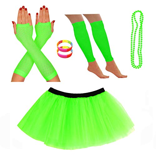 Neon Tutu Skirt with Leg Warmers and other Accessories - Sizes 8 to 22