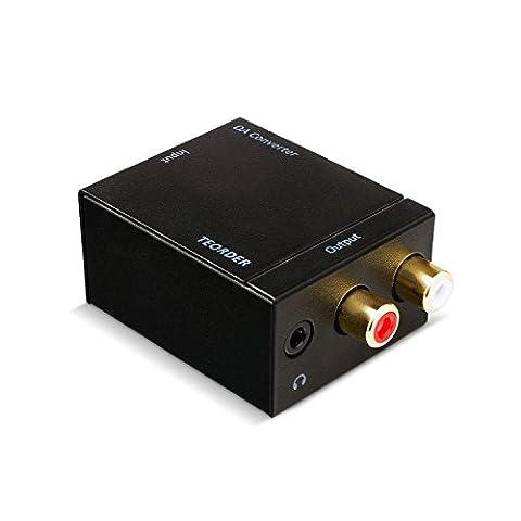 Teorder Digital zu Analog Audio Konverter (Toslink/Optisch/Koaxial/SPDIF) auf 2xCinch-Ausgänge (R/L) Wandler Audio-Digital auf Analog Decoder Adapter mit USB zu DC Kable und Toslinkkabel