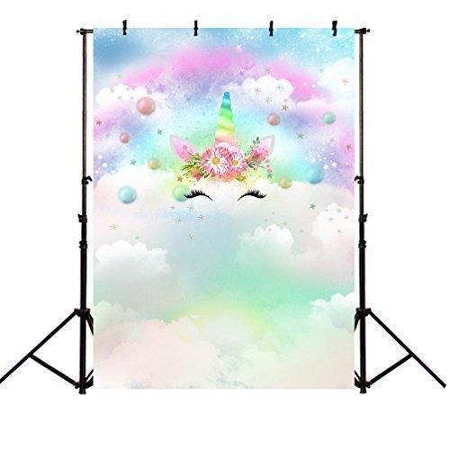 MEHOFOTO - Campana de Navidad con Fondo para Decoración de Fiesta de Unicornio y Nube, para Fotografía, 1,5 x 1,8 m