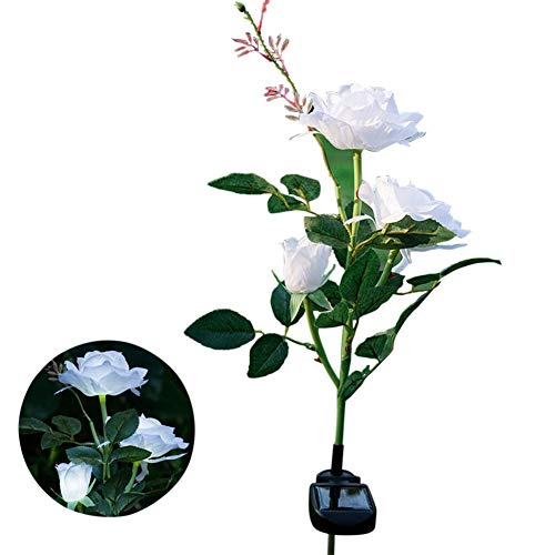 Qiong YaoTIAN Luz solar Energía solar Jardín de flores de rosas Estaca Lámpara de jardín Patio exterior 3 luces LED (Emitting Color : White)