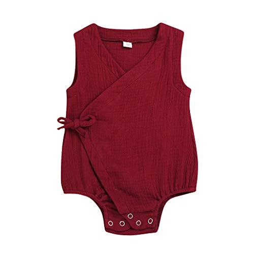 Elsta Sommer Baby Jungs Mädchen Ärmellos Solide Strampler Overalls Pyjamas Overall Baumwolle Kleidung Tops Nachtwäsche Anzug Kleidung Sets Mit Einfarbig Bandage