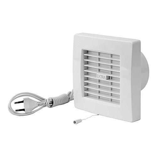 Ventilator mit Jalousie Lüfter Badlüfter Wandlüfter Bad-Lüfter für WC Bad oder Küche Zugschalter mit Stecker Ø 100 mm Durchmesser [WP]