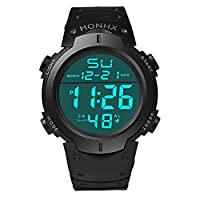 Toamen Men's Boy Fashion Waterproof LCD Digital Stopwatch Date Rubber Sport Wrist Watch (Black)