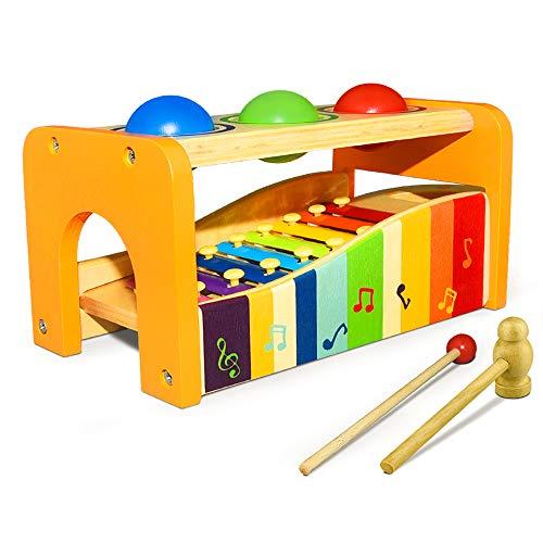 Pädagogisches Spielzeug ab 1-4 Jahre, Dreamingbox Hölzernes Instrument für Kleinkinder Baby Spielzeug ab 6-18 Monaten Musikalisches Spielzeug für Kleinkinder Geburtstag Geschenke für Baby ab 1-4 Jahre