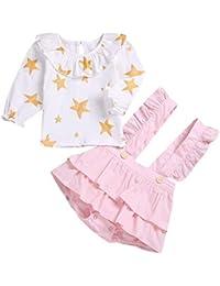 Mitlfuny Bebé Niñas Conjunto de Ropa Camisetas de Manga Larga Estrella  Impresión Collar de Muñeca Camisas de Algodón para Niña Niños… 735b1b8c755f6