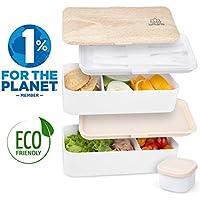 Umami® ⭐ Lunch Box Blanc Bambou   Boîte Bento Japonaise Premium avec 3 Couverts Solides Et 1 Pot À Sauce   1200ml   Hermétique   Passe Au Micro-Ondes Et Au Lave-Vaisselle   sans BPA   Marque Déposée
