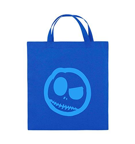 Borse Comiche - Male Smily - Fumetto - Borsa Di Juta - Manico Corto - 38x42cm - Colore: Nero / Rosa Blu Royal / Blu