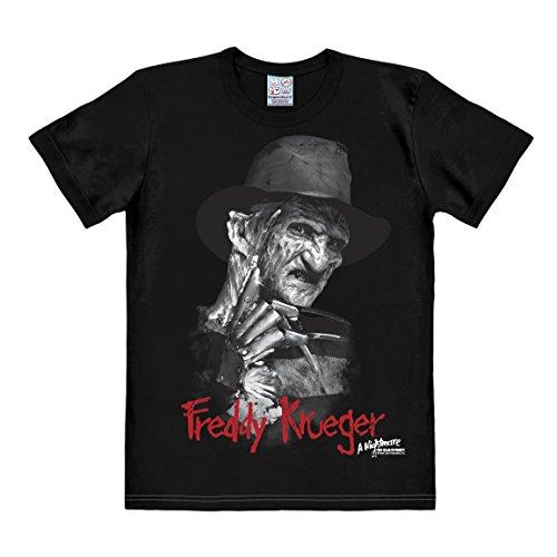 Logoshirt Herren Freizeithemd Nightmare On Elm-Freddy Krueger Schwarz-Schwarz, xl (Freddie Krüger Kostüme)