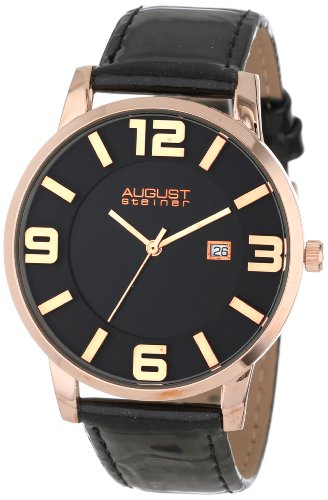 August Steiner AS8055RG Orologio da Polso al Quarzo, Analogico, Uomo, Pelle, Nero