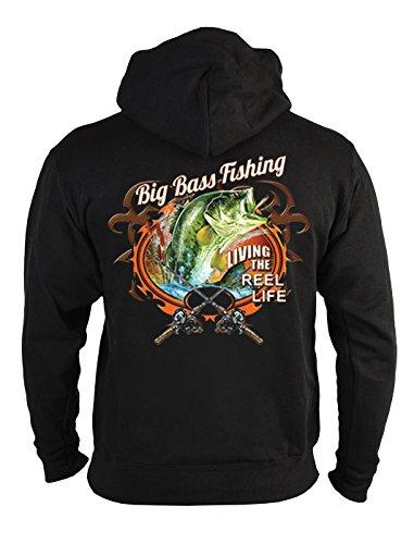 Angler Kapuzen-Zip-Sweatshirt Big Bass Fishing Angel Sweater 4 Heroes Geburtstag Geschenk geil bedruckt (T-shirt Bass Angeln Fischen)