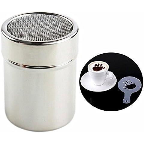 Agitador y tamiz de acero inoxidable de Purposefull - para el café de la harina de cacao y el chocolate - con 16 pedazos de Stencils del café - sistema respetuoso del medio ambiente