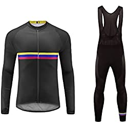 Uglyfrog Ropa Ciclismo Hombre Invierno Lana Calentar Maillot Conjunto Ciclismo Culotte Cycling Winter Clothes Traje Ciclismo Triatlón (Dos Piezas)